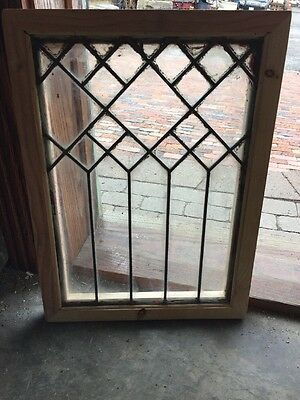 Sg 1329 Antique Leaded Glass Window 16.5 X 22.5