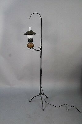 1930s Monterey Period Iron Lantern Floor Lamp Antique Rancho Light (10184)