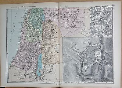 1890 Large Victorian Map - Palestine South, Large Inset Of Jerusalem