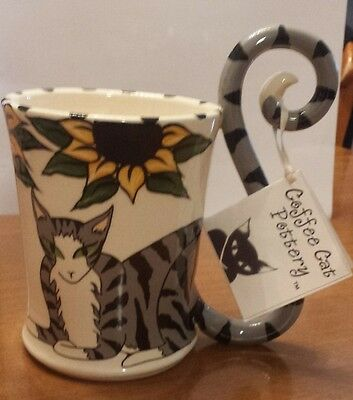 CATS Grey Tabby Cat Large Coffee Mug Cup, Sunflowers, Handcrafted Pottery,Gadler