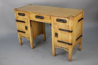 1930s Signed Monterey Antique Desk Hand Painted w Iron Vintage Office (10181)