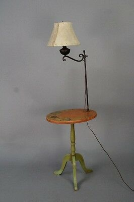 1930s Monterey Period Hand Painted Table w Lamp Antique Rancho Light (10179)