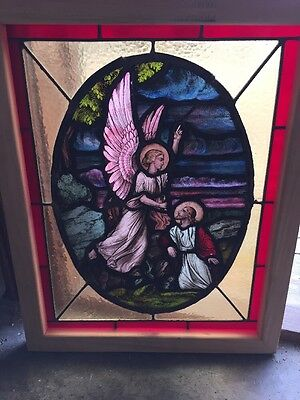 Sg 1332 Antique Painted And Fired Jesus With Angel Stainglass Window 20 X 25