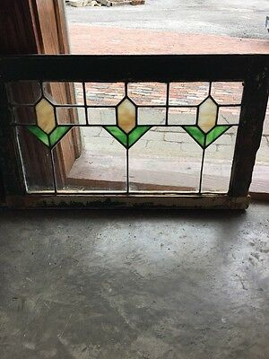 St 1340 Antique Stained And Leaded Glass Transom Window 17 X 28.