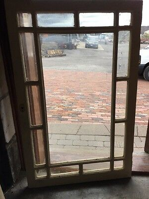 Sg 1341 Antique Beveled Glass Queen An Cabinet Door Or Window 30 X 37.25