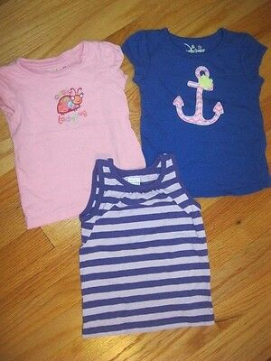 Jumping Beans & Old Navy 2T Girl's Tops Lot of 3 Purple/Pink/Blue