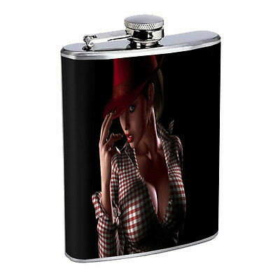 Country Cowgirl 01R Flask 8oz Stainless Steel Hip Drinking Whiskey