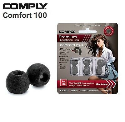 Comply Foam TSX-100 Comfort + WaxGuard 3 Pairs Earphone Tips Medium Black MP