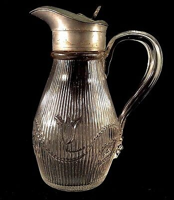 Bellflower Single Vine Fine Rib Syrup Pitcher Clear Flint Glass McKee Bros 1860s