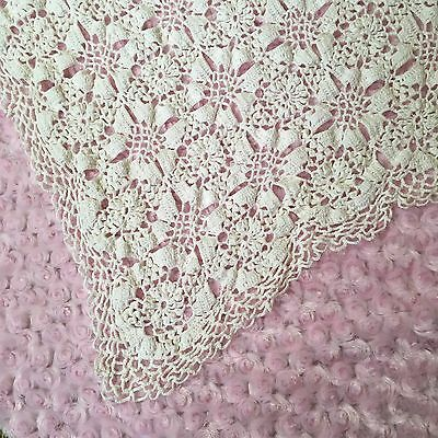 Vintage Crochet White Rectangle Twin Bed Cover Or Tablecloth 40x76""