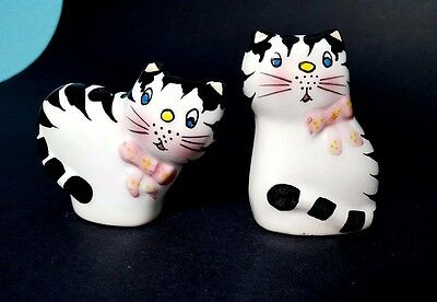 Set of Small Black & White Art Deco Cat Salt & Pepper Shakers