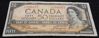 1954 Bank of Canada 50 Dollar Note in Very Good Condition NICE OLD Note!
