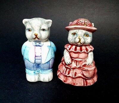 Set of 1997 GEL Cat Salt & Pepper Shakers Lady & Gentleman