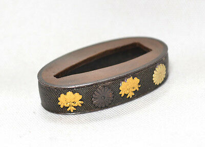 Antique Japanese Tsuka Part Only Old Single Fuchi Imperial Family Mons No Sword
