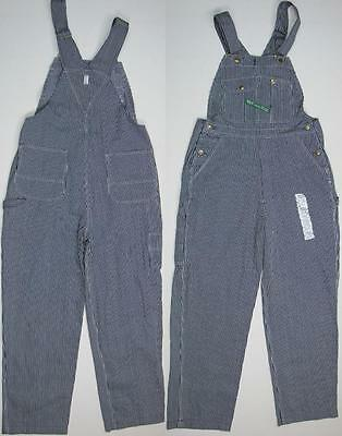 Key Imperial Striped Hickory Dungarees Work Bib Denim Jean Overalls New 36 30