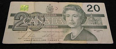 1991 Bank of Canada 20 Dollar Note in Very Good Condition Nice Note!