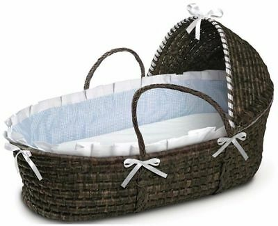 Espresso Hooded Moses Basket with Foam Mattress Pad Cotton Fitted Sheet