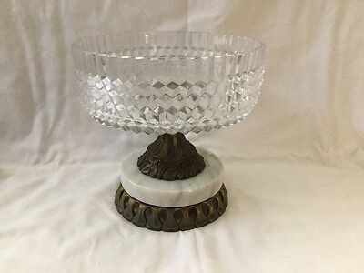 Estate Vintage Cut Crystal & Brass Bowl Center Piece on Marble Pedestal Italy