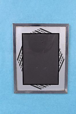 """Vintage Art Deco Reverse Silver Painted Glass 9"""" X 7"""" Easel Style Picture Frame"""
