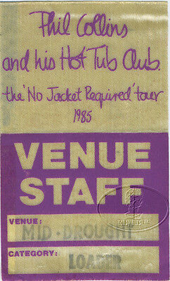 Phil Collins 1985 No Jacket Required Tour Backstage Pass GENESIS