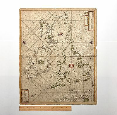 Rare Antique Pieter Goos Map Of British Isles, 1660 Amsterdam Netherlands