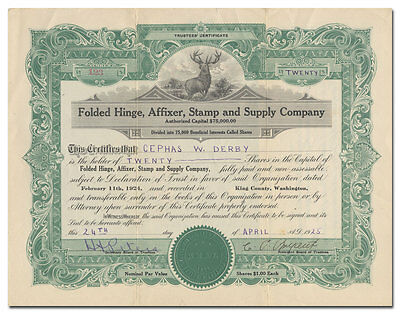 Folded Hinge, Affixer, Stamp and Supply Company Stock Certificate