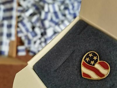 LOT OF 80 Avon Collectible HEART OF AMERICA PIN USA Flag Goldtone 2001 NOS w Box