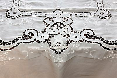 Antique Italian Hand Embroidered Floral Cut Work Burrato Lace white Tablecloth