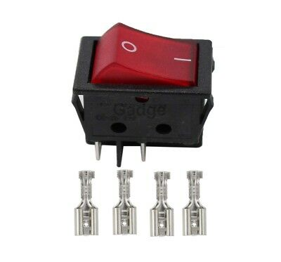 Rocker Switch Red Illuminated Double Pole 20A 16A Canal R Series