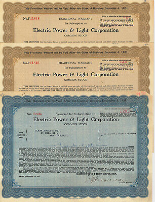 Electric Power and Light  > set of 3 1931 New York City stock certificates