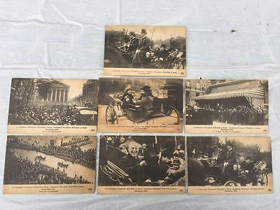 Lot 7 Old Unused French Postcards President Woodrow Wilson in Paris 1918