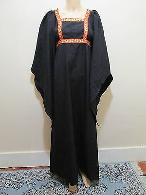 Vtg 70's Black Batwing kimono angel sleeve Wiccan Voodoo Hippie Maxi Dress M L