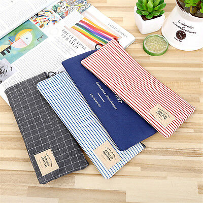 Grid Organizer Canvas Pencil Case Cosmetic Pouch Stationery Storage Makeup Bag