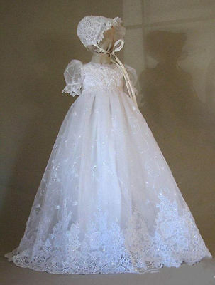 Bead Lace Baby Girl First Communion Dress Christening Gown Baptism With Bonnet