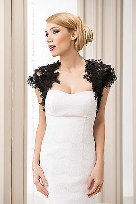 New Women Black Lace Bridal Wedding Bolero Jacket  S M L XL