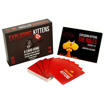 Exploding Kittens Cards Game Board Popular for Family Party Friend Playing Black