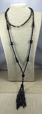 Vintage Victorian Necklace Glass Black Faceted Mourning Flapper Multi Tassel