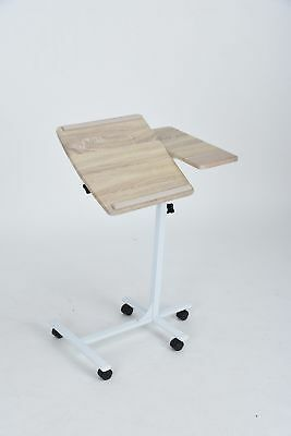 Beech Finish White Frame Mobile Laptop Computer Stand with Adjustable Tilted