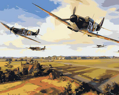 Framed Painting by Number kit WW2 Air Combat Spitfire Battle of Britain DZ7243