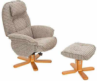 The Avanti Swivel Recliner Chair And Footstool in Latte Fabric