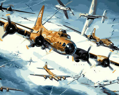 Framed Painting by Number kit WW2 Air Combat Boeing B-17 Flying Fortress DZ7260