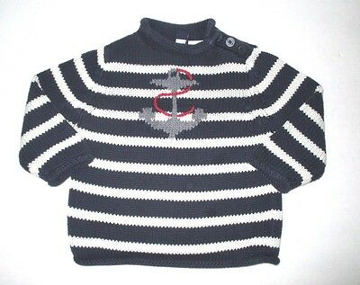 Boys Baby Gap Navy Blue Striped Anchor Roll Neck Pullover Sweater Size 18-24 Mon