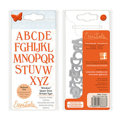 Tonic studios metal Die Windsor Alphabet letter UPPER simple type 1688e