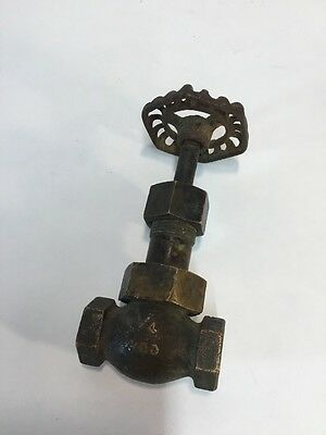 "Antique Vtg 1/4"" Brass Steampunk Gate Valve Hit Miss Steam"
