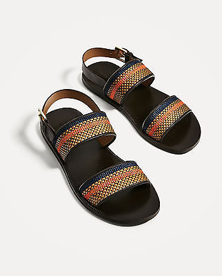 Zara Man New Ss/17 Leather Sandals With Brown And Orange Straps Ref.2708/202!