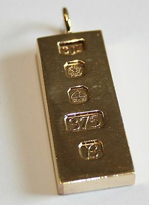 Vintage Solid 9ct Gold Ingot Pendant 29.6G ' Investment Bar '