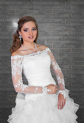 Bridal Ivory/White Lace Bolero Shrug Wedding Jacket Long Sleeve  S/M-L/XL
