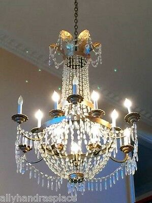 Antique Vintage French Neoclassical Crystal Directoire Beaded Basket Chandelier