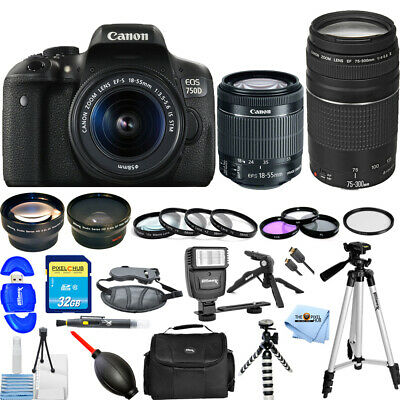 Canon EOS Rebel T6i/750D DSLR Camera W/ 18-55mm + 75-300mm III Lens MEGA KIT NEW