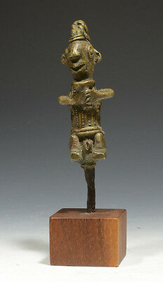 AFRICAN TRIBAL ANTIQUE YORUBA CAST BRONZE FIGURE 19th-20th Century